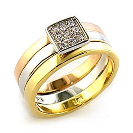 r961 tri gold plated 3 wedding engagement band ring